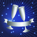 Silver cups and ribbon banner. Silver celebration: toasting cups and ribbon banner with sunburst over dark blue background, perfect 25th anniversary card Stock Photos