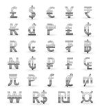 Silver currency symbols. Set of silver currency symbols of the world Royalty Free Stock Photography