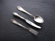 Silver cutlery. Stock Photos