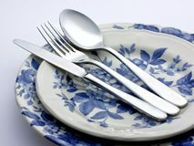 Silver Cutlery decorated plates closeup Royalty Free Stock Photos