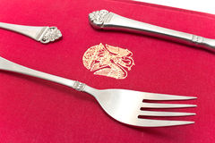 Silver cutlery set with Fork Royalty Free Stock Images