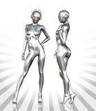 Silver Cyborg Woman Stock Images
