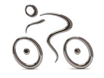 Silver cyclist icon. 3d illustration, silver cyclist icon Royalty Free Stock Image
