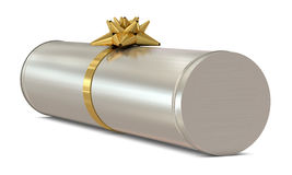 Silver cylindrical gift box with golden flower Stock Images