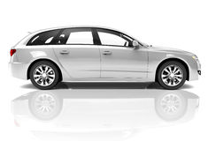 Silver 3D Car Stock Images