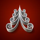 Silver 3d christmas tree on red background Stock Images