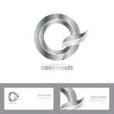 Silver 3d circle logo Royalty Free Stock Images
