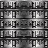 Silver 3d greek key meanders vector seamless pattern. Patterned. Surface background. Geometric abstract modern ornate design. Ornamental striped ornament royalty free illustration