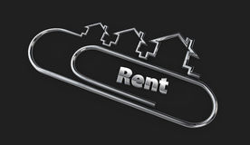 Silver 3d modern design logo with rent word illustration isolated black. Silver 3d modern design logo with rent word 3d illustration isolated black Stock Image