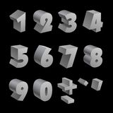 Silver 3d numbers isolated font on black. Background. RGB EPS 10 vector elements set Royalty Free Illustration