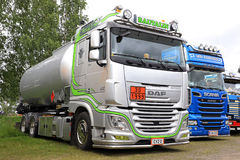 Silver DAF XF 105 Tank Truck of Rautalin on the Show Royalty Free Stock Photos