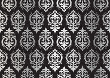 Silver damask pattern Stock Images