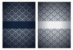 Silver and dark blue greetings Stock Photo