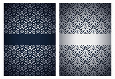 Silver and dark blue greetings Stock Photos