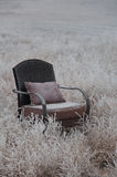 Silver Day. Peaceful empty chair in the winter frosted nature Royalty Free Stock Images