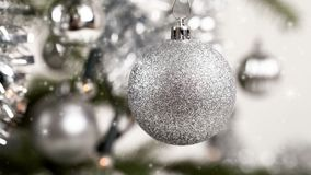Silver decorated christmas tree stock video