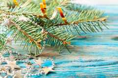 Silver decorations and fir branch Royalty Free Stock Photo
