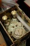 Silver decorative pots accessories Stock Images