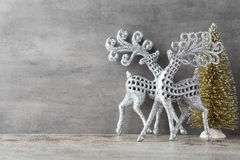 Silver deer on gray background. Christmas background. Royalty Free Stock Images
