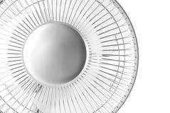Silver desk fan. On white background stock photo
