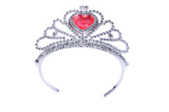 Silver diadem isolated on the white. Background Stock Photo