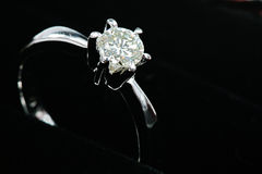 Silver diamond ring Stock Image