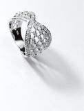 Silver diamond ring. On close up Royalty Free Stock Images