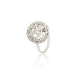 Silver diamond ring isolated on white Royalty Free Stock Image