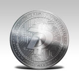 Silver digibyte coin isolated on white background 3d rendering. Illustration Stock Photos