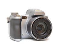 Silver digital camera. Isolated over white background Royalty Free Stock Images