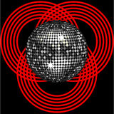 Silver disco ball on circle pattern over black Stock Photography