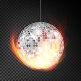 Silver Disco Ball In Fire Vector Realistic. Burning Dance Night Club. Silver Disco Ball In Fire Vector Realistic. Burning Dance Night Club Ball. Transparent Stock Images