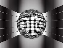 Silver disco ball on metallic 3D environment Stock Image