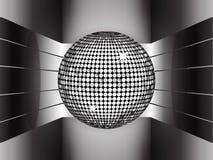 Silver disco ball on metallic 3D environment Stock Image