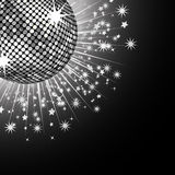 Silver disco ball and stars Royalty Free Stock Photography