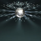 Silver disco ball. Vector silver disco ball with glowing on dark background Royalty Free Stock Photo