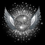 Silver disco ball and wings Stock Images