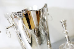 Silver dishware Royalty Free Stock Photos
