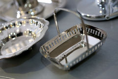 Silver dishware Royalty Free Stock Photo