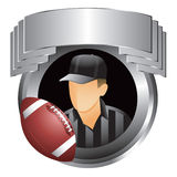 Silver display with football referee and football Stock Photos