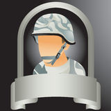 Silver display with military soldier Stock Image