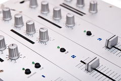 Silver dj's mixer Royalty Free Stock Image