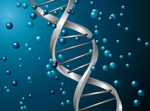 Silver dna spiral Royalty Free Stock Images