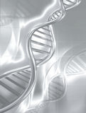Silver DNA strands Stock Image