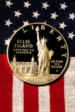 Silver Dollar on American Flag. 1986 Stock Photos
