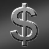 Silver Dollar Sign. Slightly textured silver dollar sign Stock Illustration