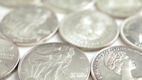 Silver dollars stock video