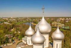 Silver domes. Of Hagia Sophia in Vologda stock photos