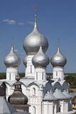 Silver domes in Rostov the Great. Kremlin Royalty Free Stock Photography
