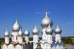 Silver domes in Rostov the Great. Kremlin Royalty Free Stock Photo